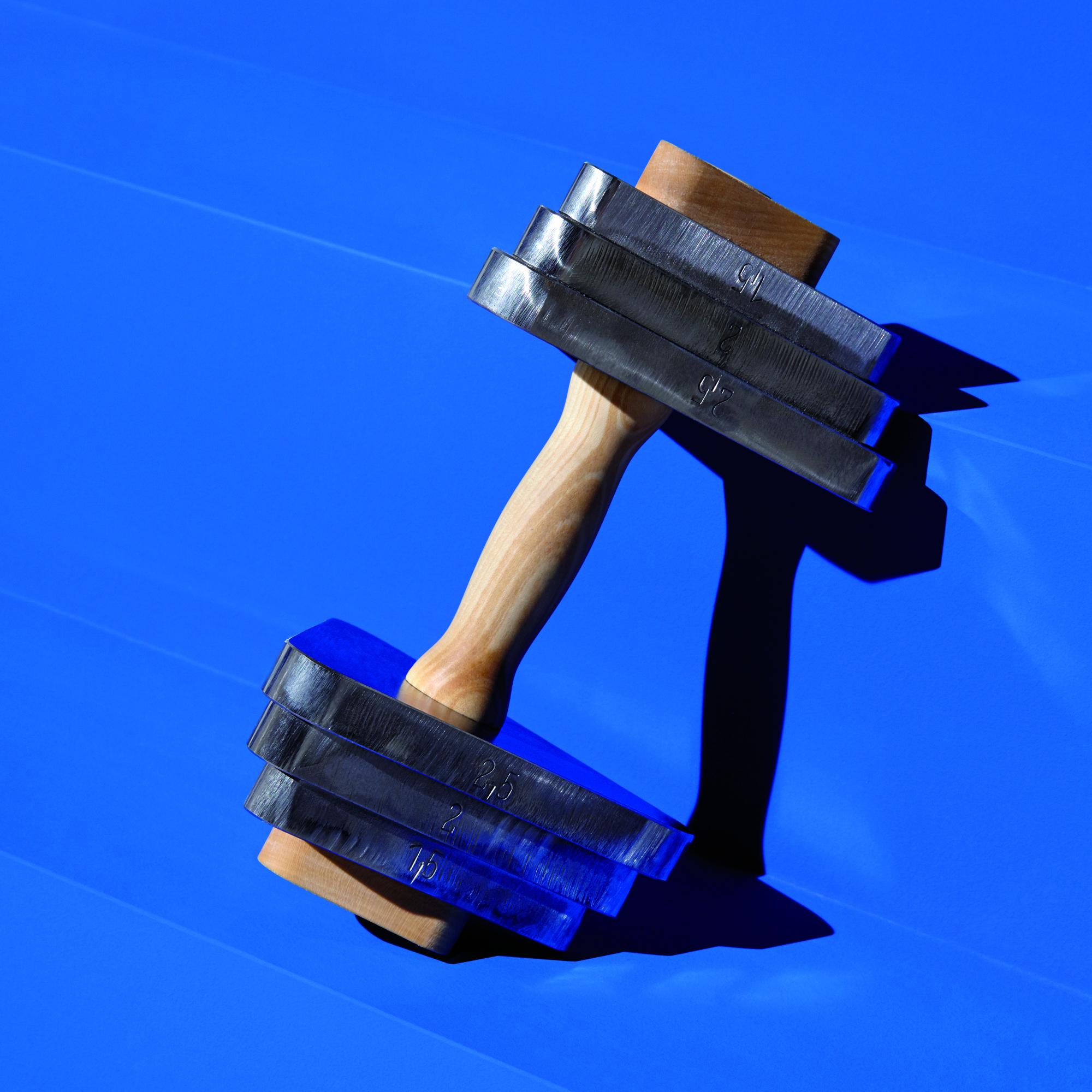 TrimmDich Hantel vor blau