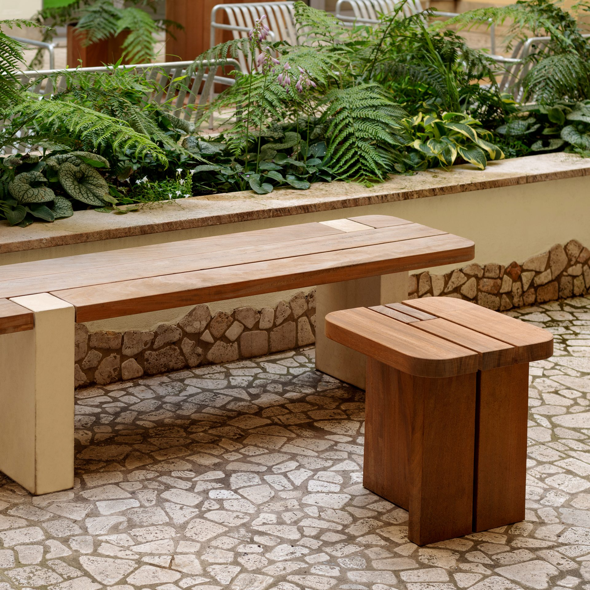 garden bench and stool